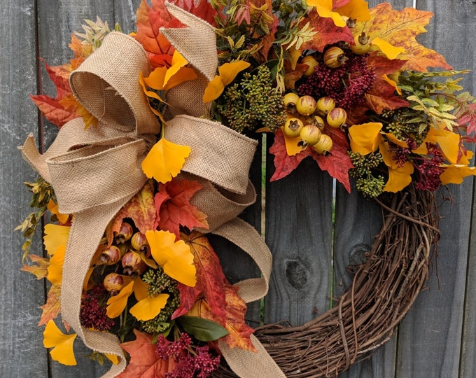Featured listing image: Fall / Autumn Wreath with Berries, Fall Burlap Wreath, Fall Colors Wreath, Fall Etsy Wreath
