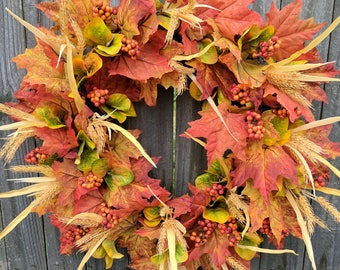 Fall Wreath, Fall Wheat Wreath, Fall Leaf Wreath, Fall Berry Wreath, Door Wreath for Fall