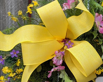 Yellow Wreath Bow, Wreath Bow Decoration, Spring Summer Wreath Bow