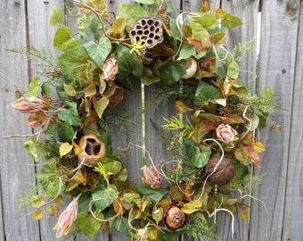 Everyday Wreath - Wreath Great for All Year Round - Fall / Everyday Wreath with Pods, Door Wreath, Front Door Wreath