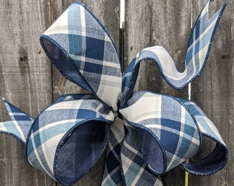 Wreath Bow, Baby Shower Boy Wreath Bow, Boy Nursury Bow, Navy and White Plaid Bow