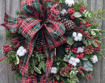 Holiday / Christmas Wreath /Plaid Berry Wreath with Cotton / Natural Christmas Wreath / Cotton Christmas Wreath