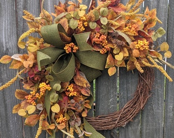 Fall Wreaths, Berries, Green Fall Bow, Wired Fall Bow, Fall Wreath, Fall Decoration, Yellow Fall Wreath