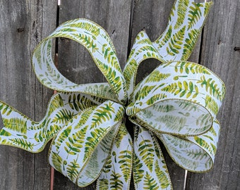 Wreath Bow, Everyday Fern Bow, Spring / Summer Green Cream Wreath Bow Decor, Wired Bow, Elegant Spring Wreath Bow, Decor Bow, Lantern Bow