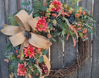 Spring Wreath, Spring Coral Wreath, Blueberries and Coral Dalias Wreath, Front Door Wreath, Mothers Day Gift, Wreath for Spring, Wreath