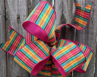 Pink Bow for Wreath, Plaid Wreath Bow, Baby Shower Wreath Bow