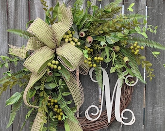 Front Door Wreath, Everyday Wreath, Burlap Wreath, Greenery Wreath for All Year Round, Everyday Wreath, Green Wreath, Natural Wild Door