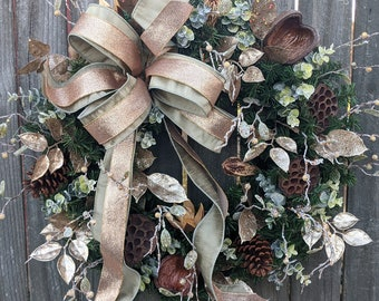 Christmas Wreath Platinum Copper Wreath Glitzy Natural Wreath No Red Christmas and Winter Wreath, Woodland Wreath, Natural Christmas Decor