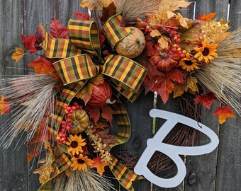 Fall Wreath with Pumpkins and Gourds Natural Monogram Fall Decoration, Fall Door Wreath, Fall Monogram Letter Wreath, Fall Decor