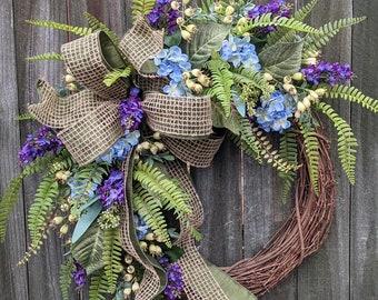Spring Wreath, Summer Wreath, blue hydrangea Wreath, Wreath for Spring, Summer, Front Door Wreaths Door Decor, Blue and Purple, Monogram