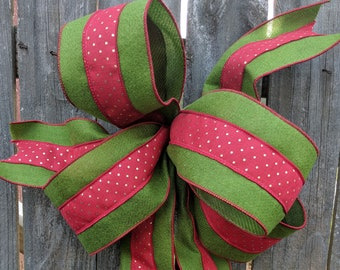 Christmas Bow, Wired Christmas Ribbon for Wreath Bow, Red Green Gold Bow, Wired ribbon, Polka Dot Bow for Christmas Decoration