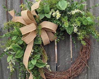 Everyday Green Wreath, Greenery Wreath,Spring Summer Fall Wreath, Front Door Wreath, Everyday Door Wreath, Door Wreath, Wreath with Bow