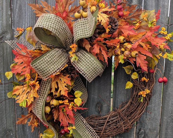 Featured listing image: Fall Wreath, Fall Berry Wreath, Fall Leaf Wreath, Fall burlap in Green