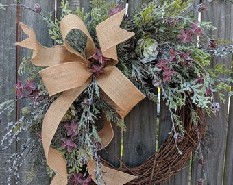 Christmas Winter Succulent Wreath, Burlap Frosted Succulent Christmas Wreath All Winter Long, Door Wreath, Christmas Door Wreath, Wedding