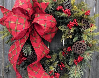 Christmas Wreath, Large Bow Wreath, Realistic Christmas Greenery Wreath, Red Berries, Elegant Bright Red Christmas Decor, Red Berries