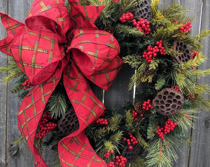 Featured listing image: Christmas Wreath, Large Bow Wreath, Realistic Christmas Greenery Wreath, Red Berries, Elegant Bright Red Christmas Decor, Red Berries