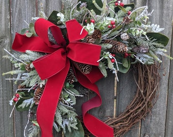 Christmas Woodland Wreath / Grapevine Snow Wreath with Rich Red Velvet Plaid / Natural Christmas Wreath / Christmas Door Wreath