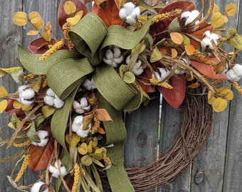 Fall Wreath, Fall Cotton Wreath, Fall Magnolia Wreath, Fall Green Bow Wreath