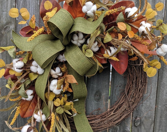 Featured listing image: Fall Wreath, Fall Cotton Wreath, Fall Magnolia Wreath, Fall Green Bow Wreath