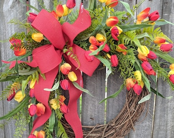 Wreath with Red Tulips, Wreath with Bow, Tulip Wreath, Red Wreath, Wreath for Door Mantle or Wall
