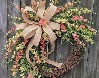 Spring Wreath, Spring/Summer Wreath, Front Door Wreath Springtime Coral, Spring blooms Wreath, Spring and Summer LIMITED ADDITION r
