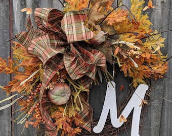 Fall Wreath with Letter Option, No Orange, Pumpkin Wreath, Fall Plaid Bow, Tan Pumpkins, Terra Cotta Color Fall Wreath