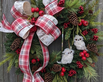 Christmas Wreath Owl Wreath Wreath, Plaid and Birch Wreath, Woodland Cottege Christmas Decor