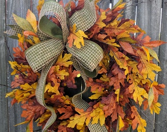 Fall Wreath, Full Fall Leaves Wreath, Fall Leaf Wreath, Fall  Wreath with bow,  Halloween Harvest Thanksgiving Wreath