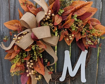 Fall Wreath Burgundy and Cream, Burlap, Cream Fall Berries, Cream Pumpkin Compliment, Fall Decoration, Fall Door Wreath, Fall Monogram