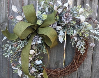 Christmas Wreath Wreath Moss Green Wreath Icy Christmas and Winter Wreath, Woodland Wreath, Natural Christmas Decor