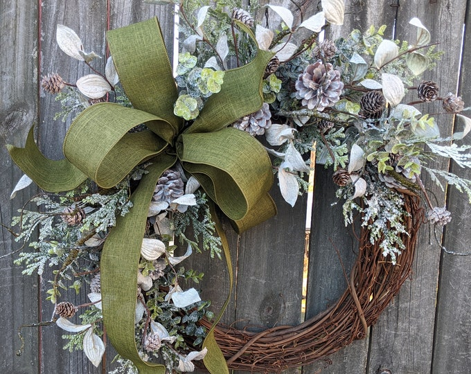 Featured listing image: Christmas Wreath Wreath Moss Green Wreath Icy Christmas and Winter Wreath, Woodland Wreath, Natural Christmas Decor