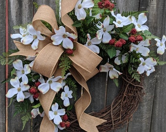Wreath, Spring Wreath, Dogwood Spring Wreath, Wreath, Woodland Dogwood, Spring Door Wreaths, Fern and burlap, North Carolina, Etsy Wreath