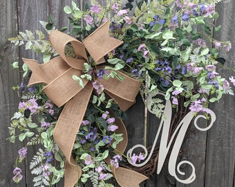 Spring Wreath, Purple Wreath, Mint and Purple, Lavender Eucalyptus, Front Door Wreath for Year Round, Greenery Wreath