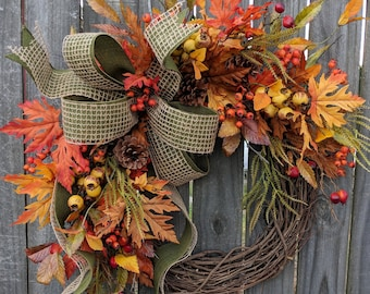 Fall Wreath, Fall Berry Wreath, Fall Leaf Wreath, Fall burlap in Green