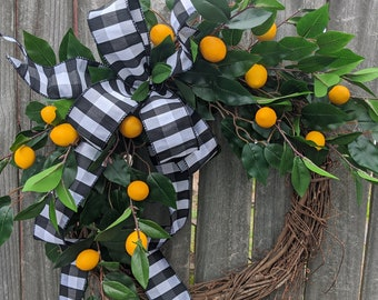 Everyday Wreath, Buffalo Check Lemon Kitchen Wreath with Lemons, Front Door Welcome, Kitchen Fruit Wreath, Door Wreath for All Year Round