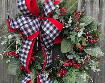 Check Wreath Christmas / Holiday Wreath - Black and White Red, magnolia leaves, Snow, Berries Designer Holiday Decor