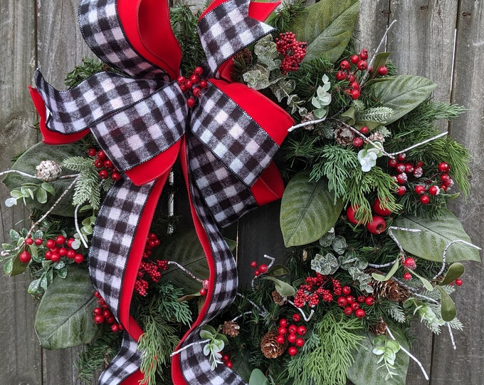 Featured listing image: Check Wreath Christmas / Holiday Wreath - Black and White Red, magnolia leaves, Snow, Berries Designer Holiday Decor