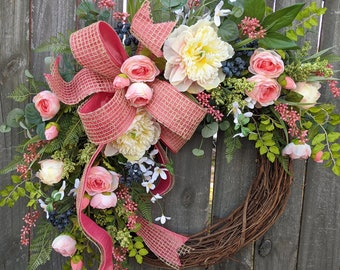Spring Wreath, Spring/Summer Wreath, Spring Wreath blush coral, Wreath, Summer Garden Wreath, Peony Ranunculus Wreath, Spring Door Wreath
