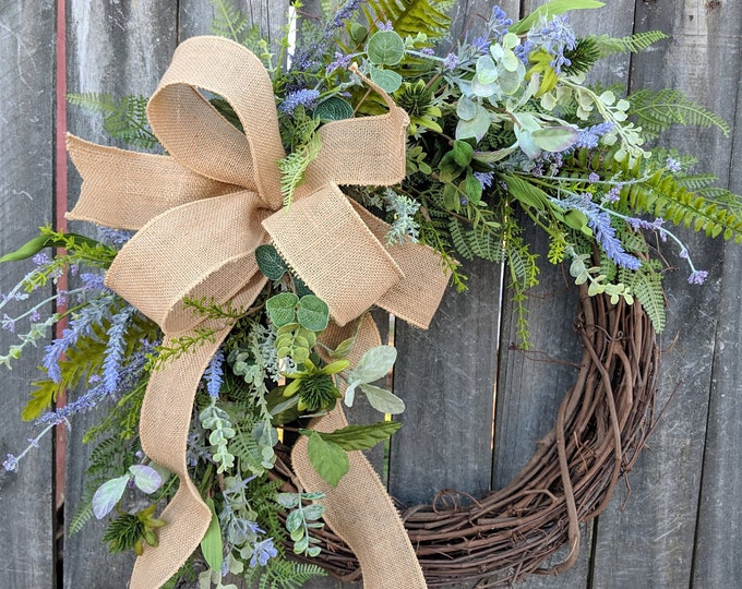 Featured listing image: Lavender Wreath, Spring / Summer Wreath, Burlap Lavender Farm Wreath