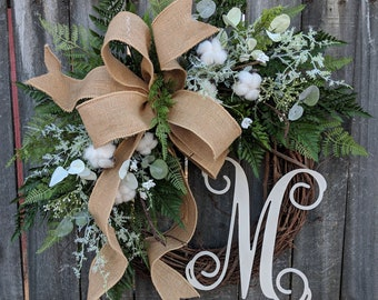 Cotton Wreath - Cotton Burlap Wreath - Cotton Decor - Spring Wreath - Year round Wreath -Welcome Wreath -Front Door Wreath -Wedding Wreath
