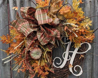 Fall Wreath, Optional Monogram Fall Wreath, Pumpkin Gourd Fall Wreath, No Orange, Plaid Bow, Brown Green Fall Wreath