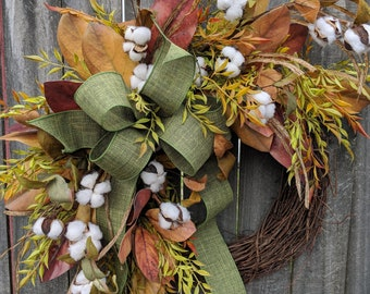 Fall Wreath, Fall Cotton Wreath, Fall Magnolia Wreath, Fall Green Bow Wreath