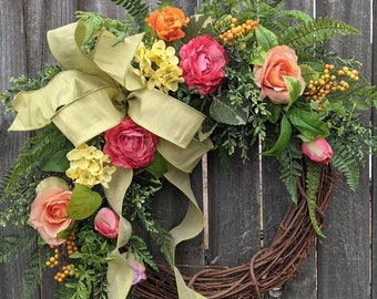 Spring Wreaths, Floral Wreath, Garden Wreath, Front Door Wreath, Rose, Hydrangea, Tulip Wreath for Spring and Summer, Wreath for Front Door