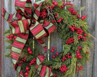 Christmas Wreath Wreath Deluxe Cedar Base Wreath Berries Christmas Bow Wreath, Realistic Cedar Wreath, Natural Christmas Decor