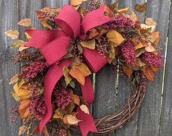 Fall Wreath, Fall Wreaths, LIMITED EDITION Wreath, Elegant Fall Wreath, Burgundy Harvest Thanksgiving Wreath