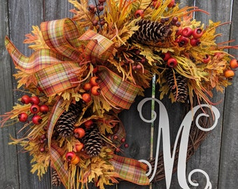Fall Wreath with Berries, Plaid Bow, Wired Fall Bow, Harvest Wreath, Halloween Wreath