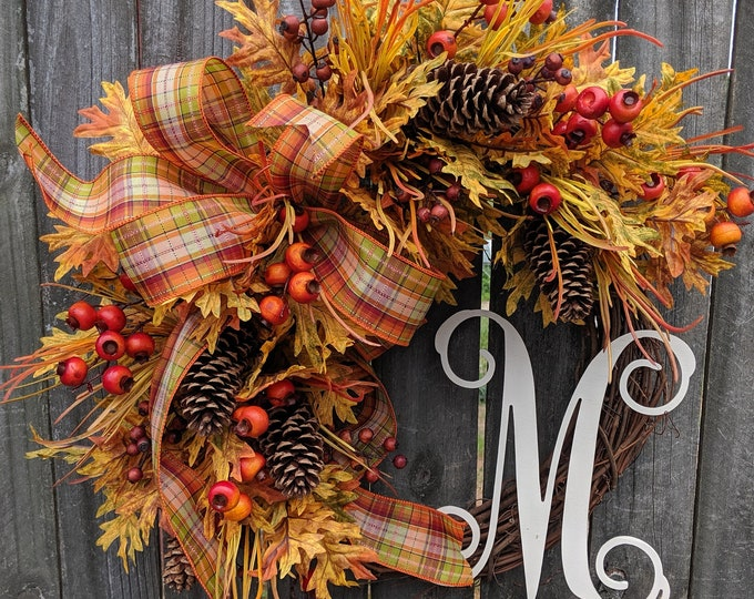 Featured listing image: Fall Wreath with Berries, Plaid Bow, Wired Fall Bow, Harvest Wreath, Halloween Wreath