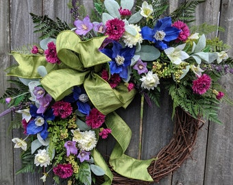 Spring wreath, Purple wreath, fern wreath, welcome wreath, Climatis wreath, door wreath, Door Wreaths, Gift Wreath, Elegant Designer Wreath