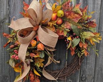 Fall Wreath, Fall fruit Wreath, Fall Leaf Wreath, Fall burlap Wreath, Halloween Harvest Thanksgiving Wreath