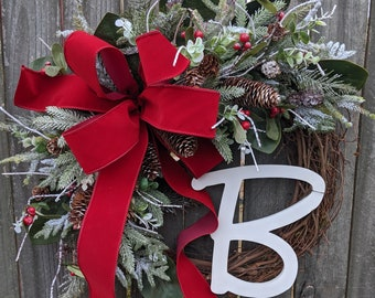 Christmas Wreath, Snowy Christmas Wreath, Christmas Wreaths, Monogram Christmas Wreaths, Christmas Wreaths Frozen, Snowman Christmas